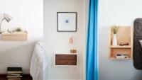 Yüzen komodinler ile yatak odası dekoruna sihirli bir dokunuş